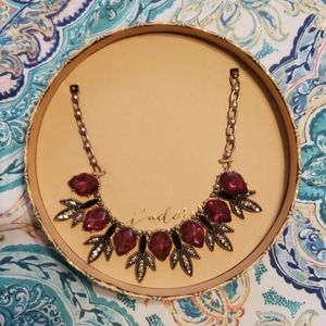 Red Jeweled Statement Necklace